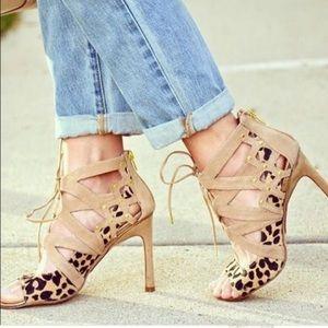 Dolce vita calf hair leopard suede cutout heels 8